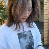 極細ハイライト ストリート ハイライト ミルクティーグレージュ ヘアスタイルや髪型の写真・画像