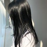 ナチュラル ロング シンプル 黒髪ヘアスタイルや髪型の写真・画像