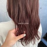 ベリーピンク セミロング ナチュラル ピンクベージュ ヘアスタイルや髪型の写真・画像