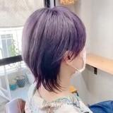 パープルカラー ネイビーブルー ショート ピンクベージュ ヘアスタイルや髪型の写真・画像