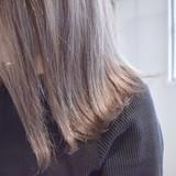 切りっぱなしボブ グレージュ ナチュラル ミルクティーベージュ ヘアスタイルや髪型の写真・画像
