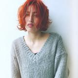 ボブ ガーリー アプリコットオレンジ 外国人風カラー ヘアスタイルや髪型の写真・画像
