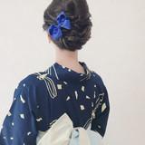 セミロング 結婚式 ヘアアレンジ エレガント ヘアスタイルや髪型の写真・画像 | Moriyama Mami / 福岡天神ヘアセット・着付け専門店【Three-keys】