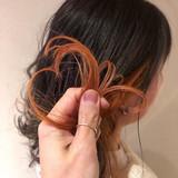 アプリコットオレンジ ガーリー オレンジベージュ インナーカラー ヘアスタイルや髪型の写真・画像