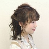 デート ボブ ヘアアレンジ ハーフアップ ヘアスタイルや髪型の写真・画像 | 奥村北斗/表参道AnnaLanna / AnnaLanna omotesando