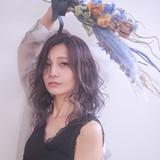 バイオレットカラー エレガント ゆるふわ 巻き髪 ヘアスタイルや髪型の写真・画像