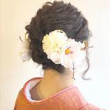 和装ヘア ミディアム ヘアアレンジ ナチュラル ヘアスタイルや髪型の写真・画像 | L'atelier Content / L'atelier Content