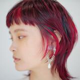 赤髪 レッドカラー ウルフ ウルフ女子 ヘアスタイルや髪型の写真・画像
