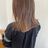 セミロング モード ストレート 切りっぱなし ヘアスタイルや髪型の写真・画像[エリア]