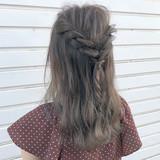 ヘアアレンジ ガーリー グレージュ 外国人風 ヘアスタイルや髪型の写真・画像