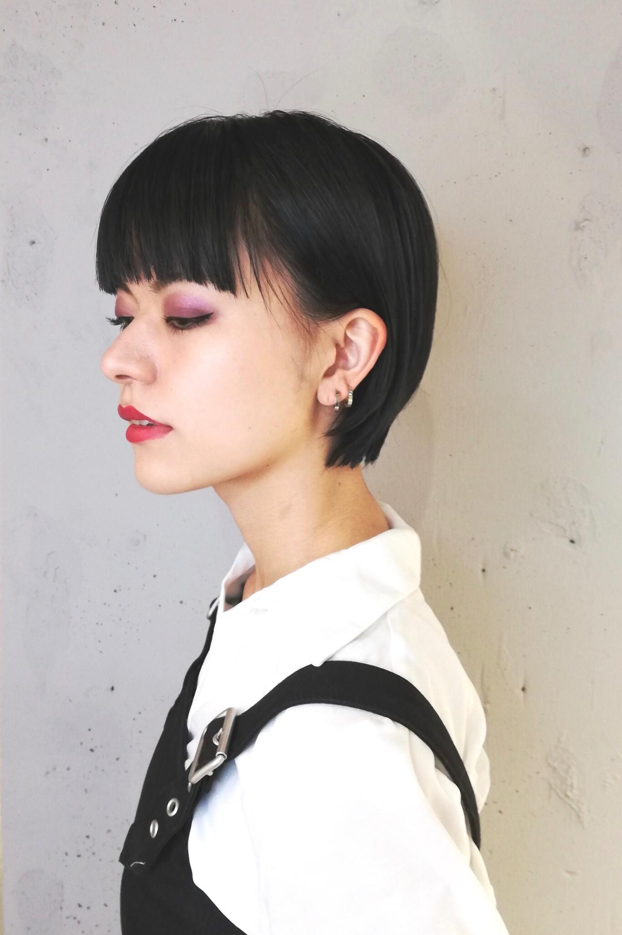黒髪 ショートボブ ハンサムショート モード ヘアスタイルや髪型の写真・画像   上村奈央 〜似合わせお任せください〜 / l ME MINE