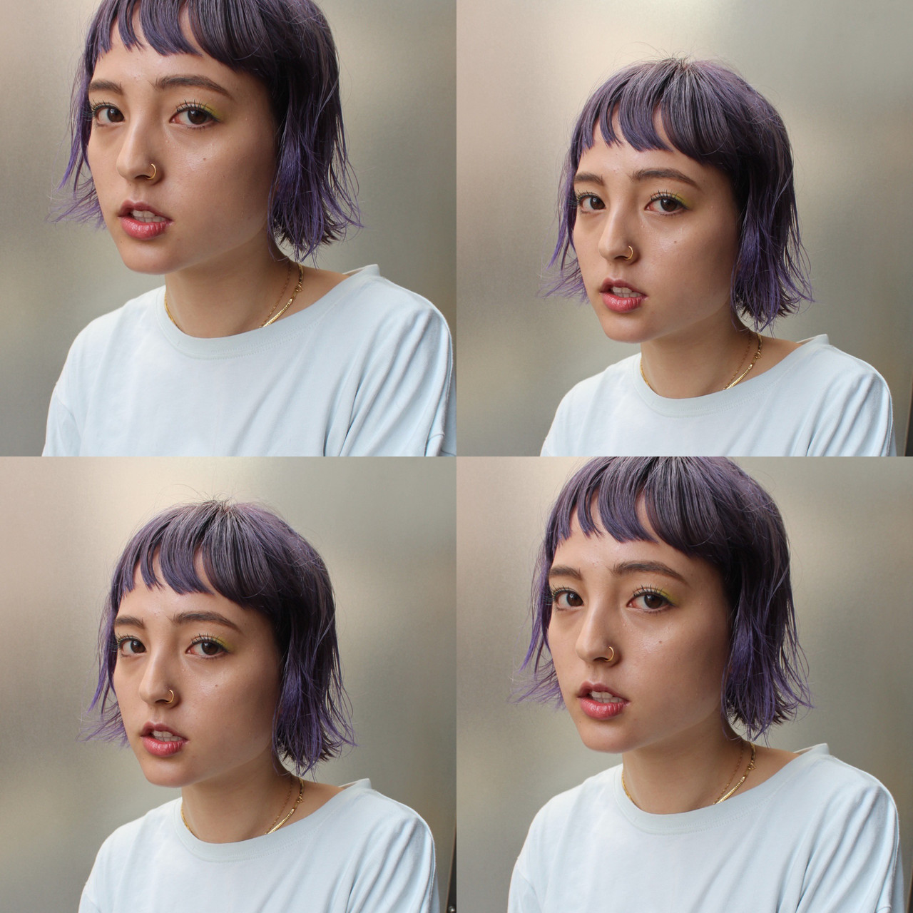 切りっぱなしボブ インナーカラー ボブ モード ヘアスタイルや髪型の写真・画像 | bibito crew / bibito