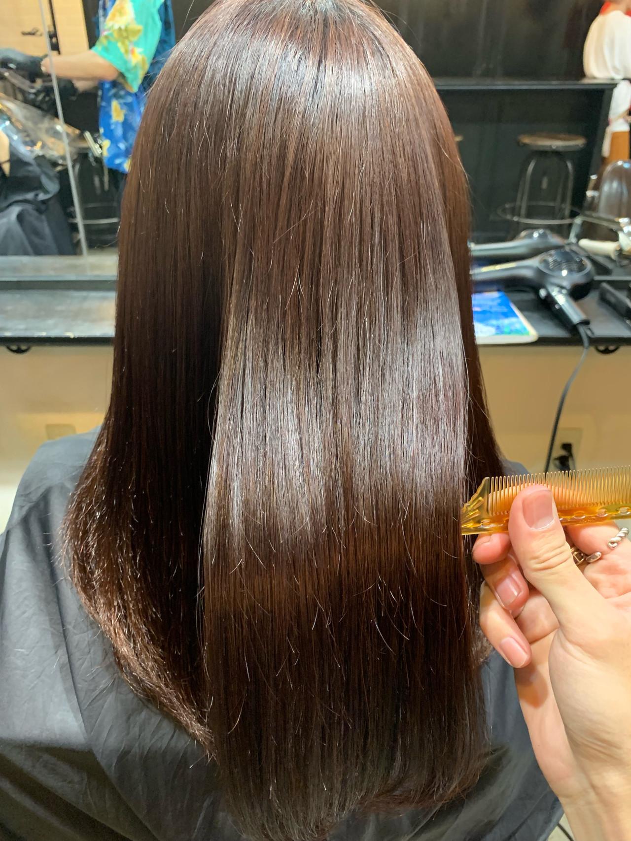 ロング 髪質改善 ナチュラル 黒髪ヘアスタイルや髪型の写真・画像