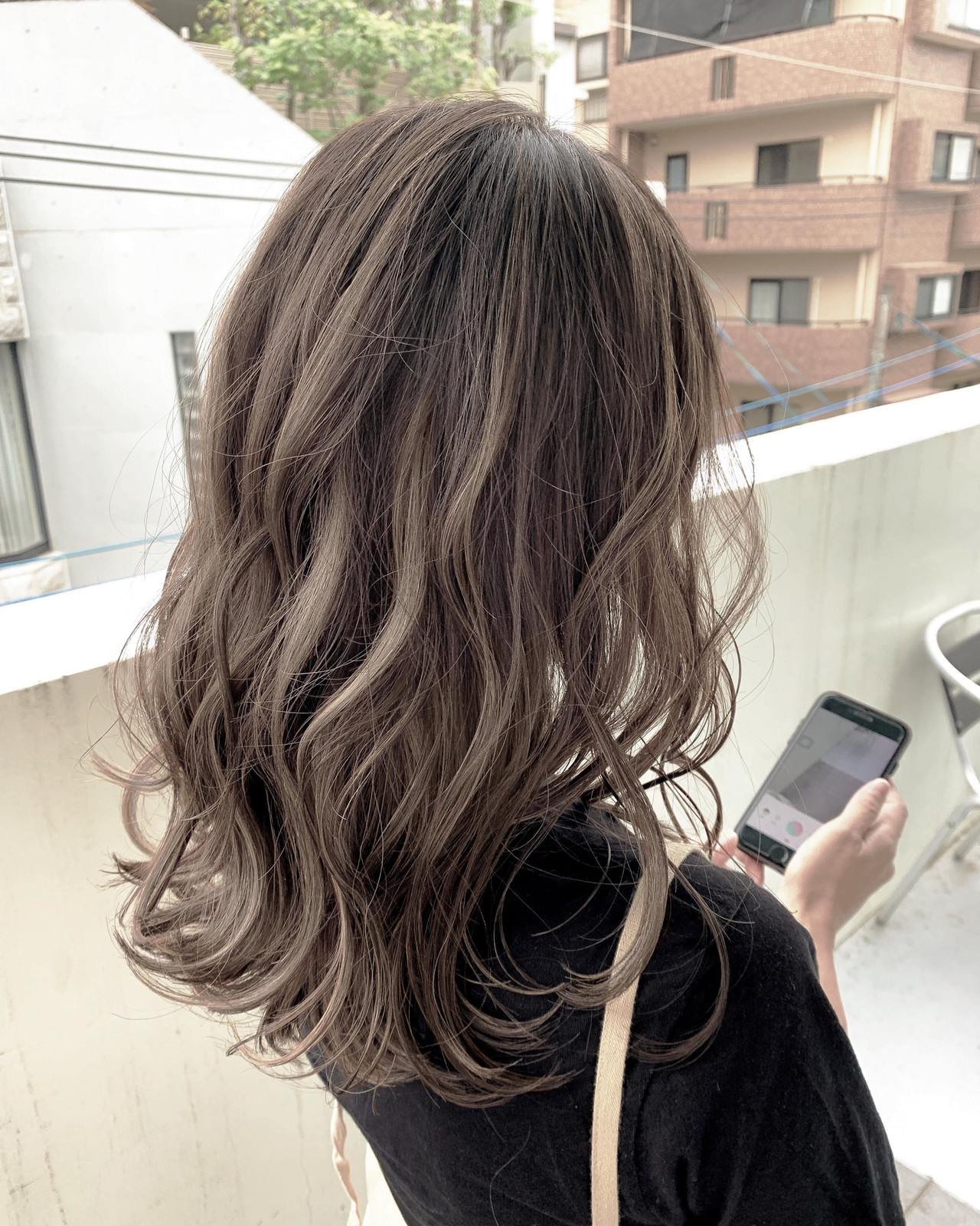 3Dハイライト デート セミロング 大人ハイライトヘアスタイルや髪型の写真・画像