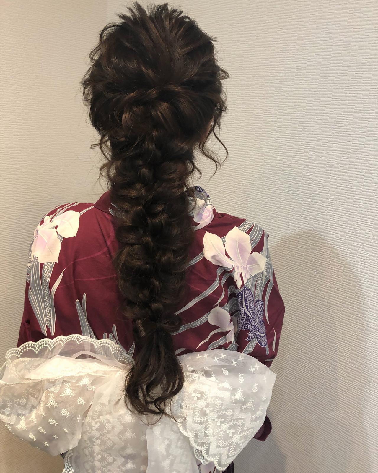 フェミニン ロング 編みおろし ヘアセット ヘアスタイルや髪型の写真・画像 | mai / HAIR SALON STELLA