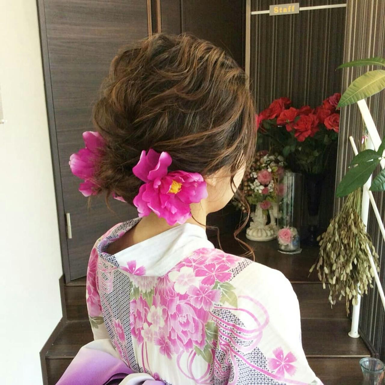 和装 ナチュラル ヘアアレンジ 編み込み ヘアスタイルや髪型の写真・画像 | rumiLINKS美容室 / リンクス美容室