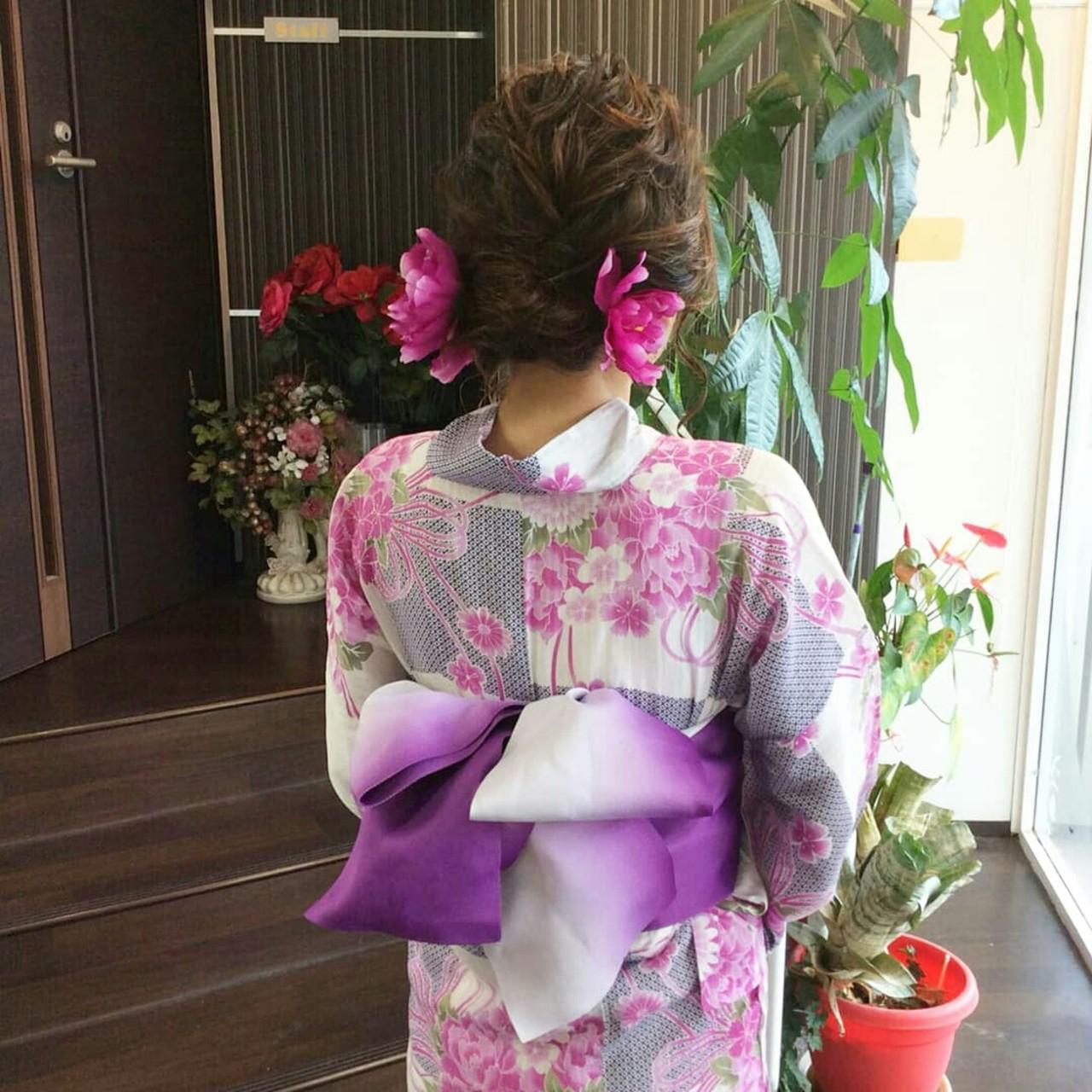 和装 ナチュラル ヘアアレンジ 編み込みヘアスタイルや髪型の写真・画像