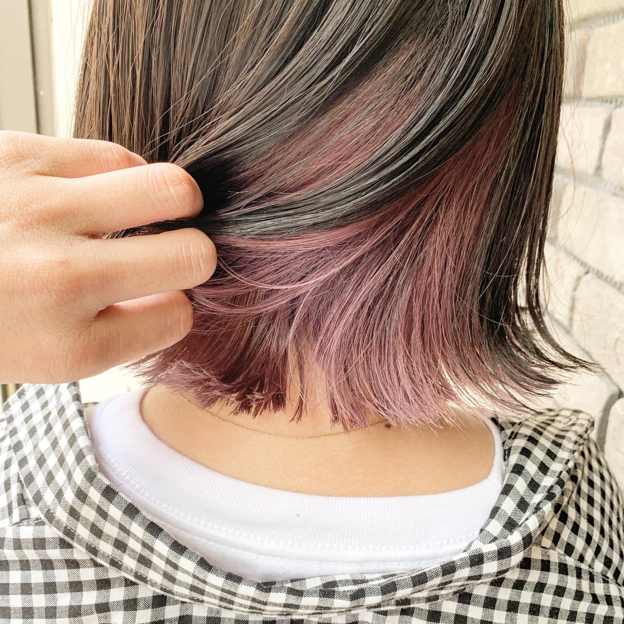 ボブ ストリート インナーカラー グレージュ ヘアスタイルや髪型の写真・画像 | 谷川 健太 / ROVERSI