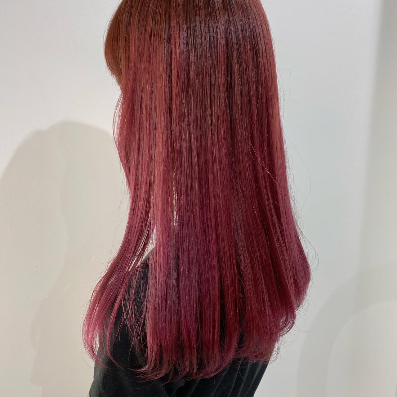 ベリーピンク ロング ラベンダーピンク ピンクアッシュヘアスタイルや髪型の写真・画像