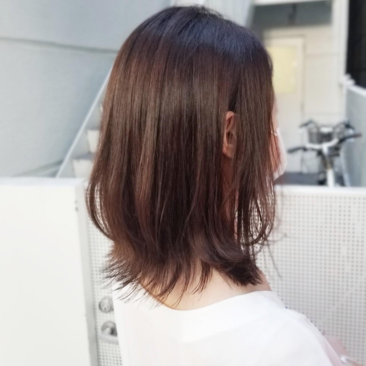 ピンクブラウン ネオウルフ ウルフカット ミディアムヘアスタイルや髪型の写真・画像