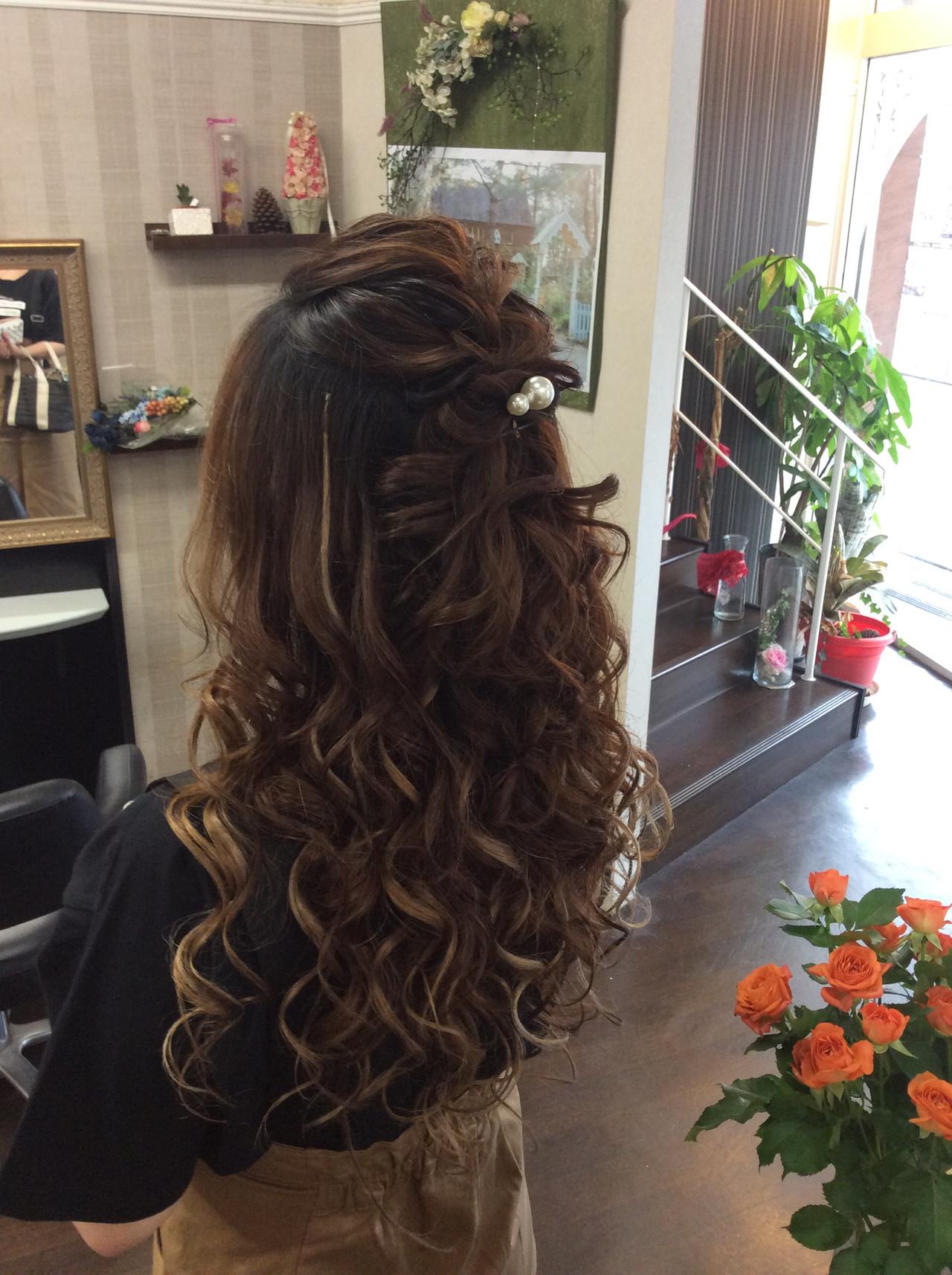 ロング 結婚式 簡単ヘアアレンジ ナチュラル ヘアスタイルや髪型の写真・画像 | rumiLINKS美容室 / リンクス美容室