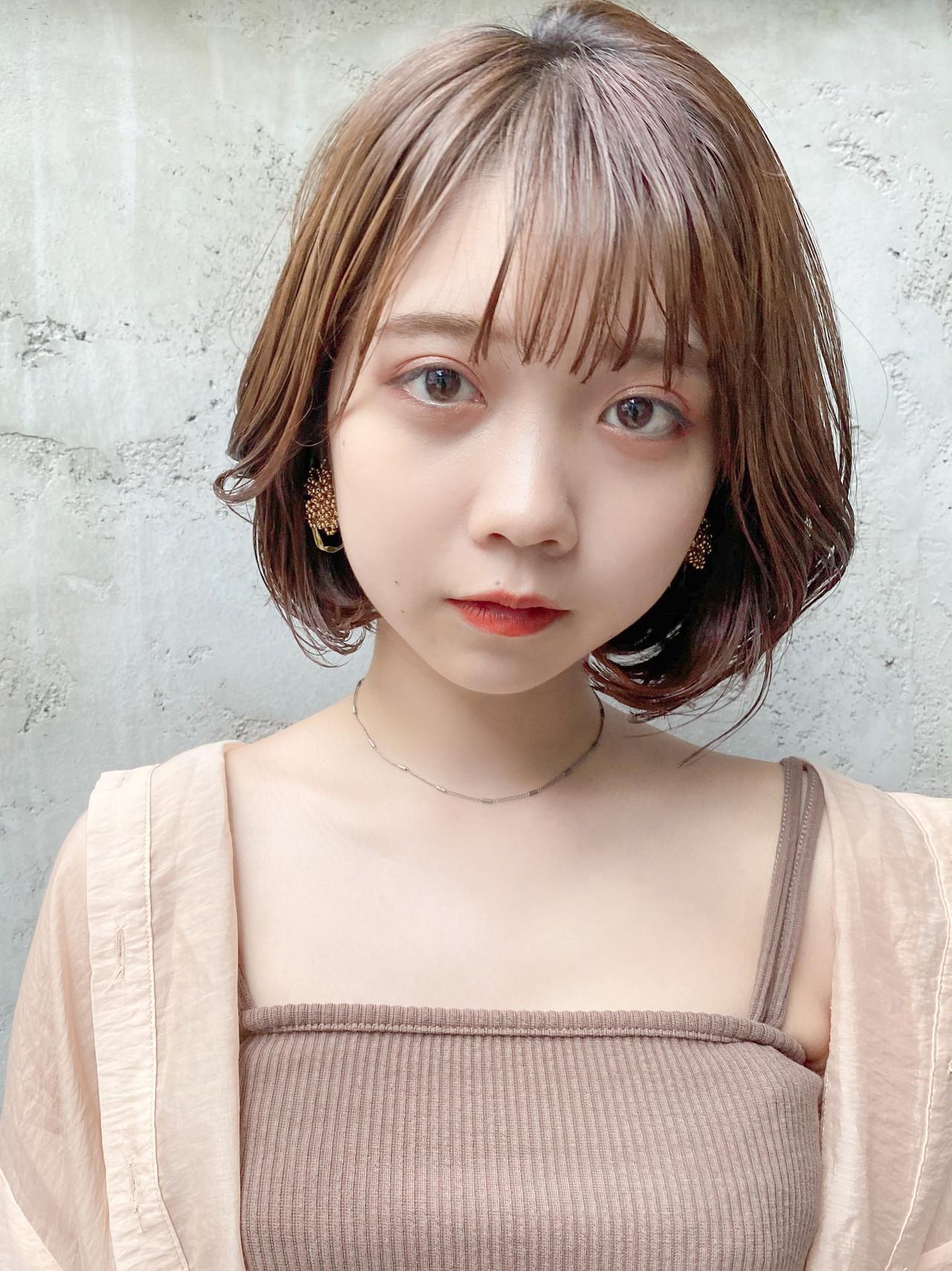 韓国ヘア ボブ ナチュラル デート ヘアスタイルや髪型の写真・画像