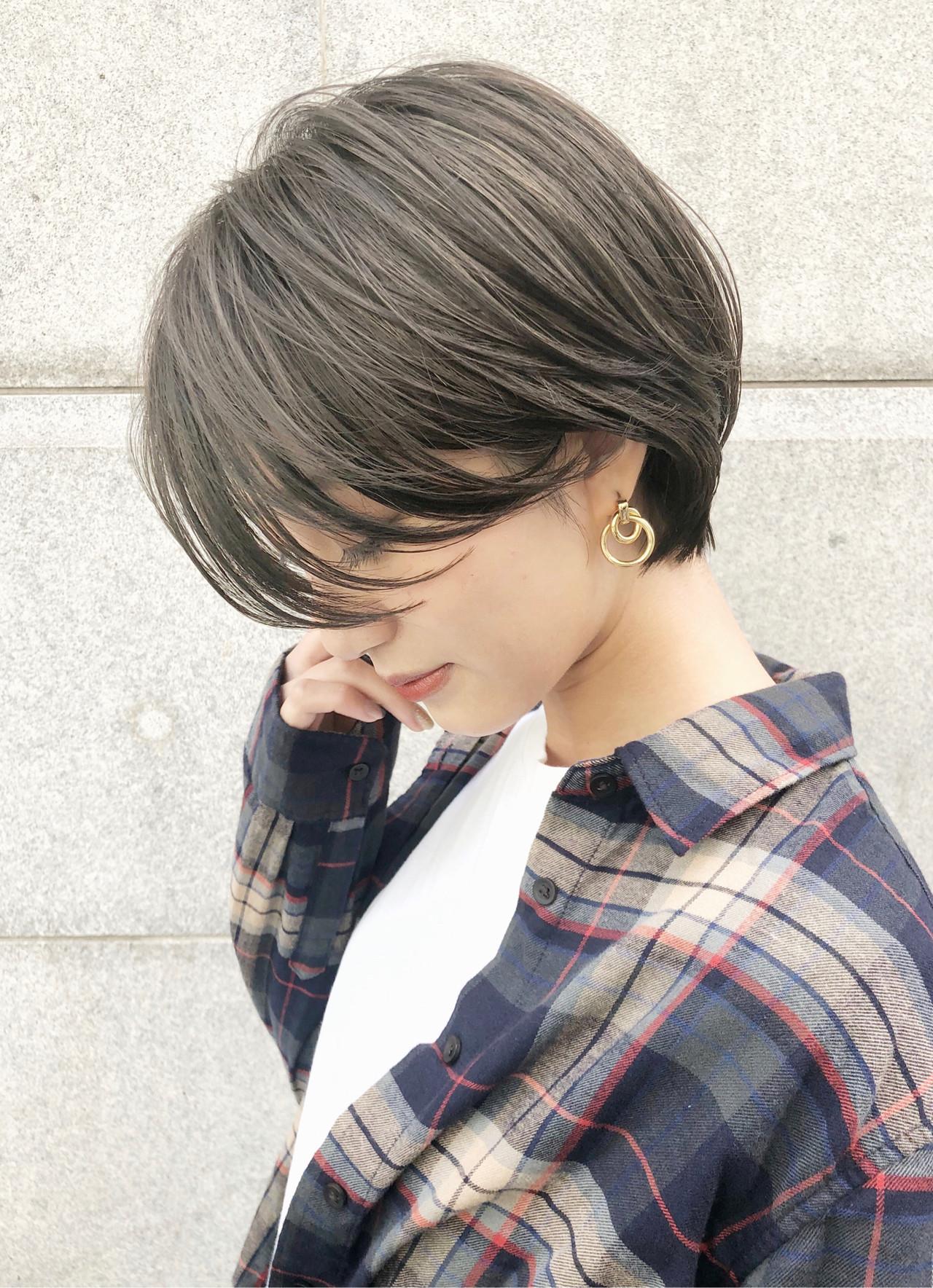 グレージュ デート ハンサムショート ショートヘア ヘアスタイルや髪型の写真・画像 | 小金丸大河【銀座sand】ショートヘア / sand銀座