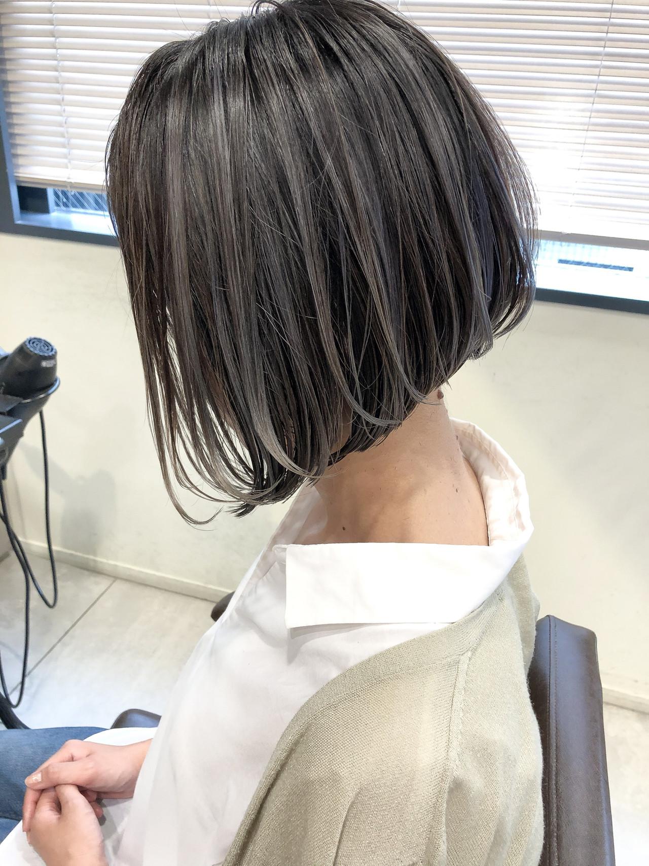 外国人風カラー ハイライト ナチュラル ショートボブヘアスタイルや髪型の写真・画像
