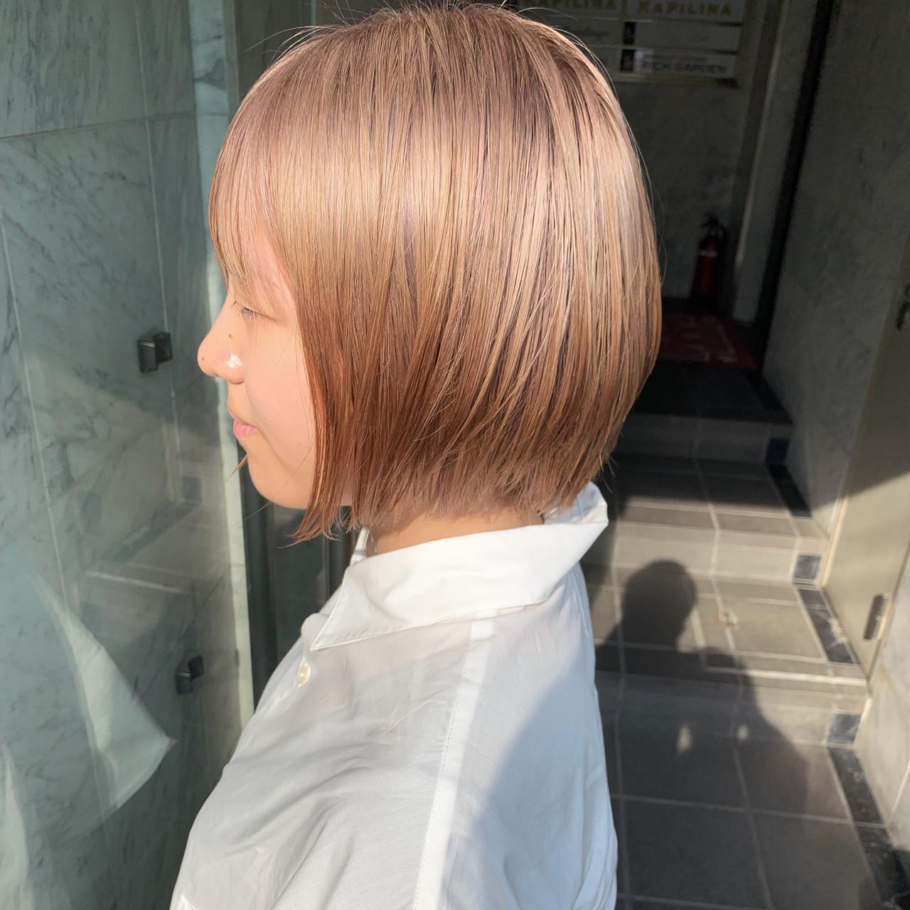 ショート ミルクティー ハイトーンカラー 外国人風カラー ヘアスタイルや髪型の写真・画像 | yoshiki / float 天神橋