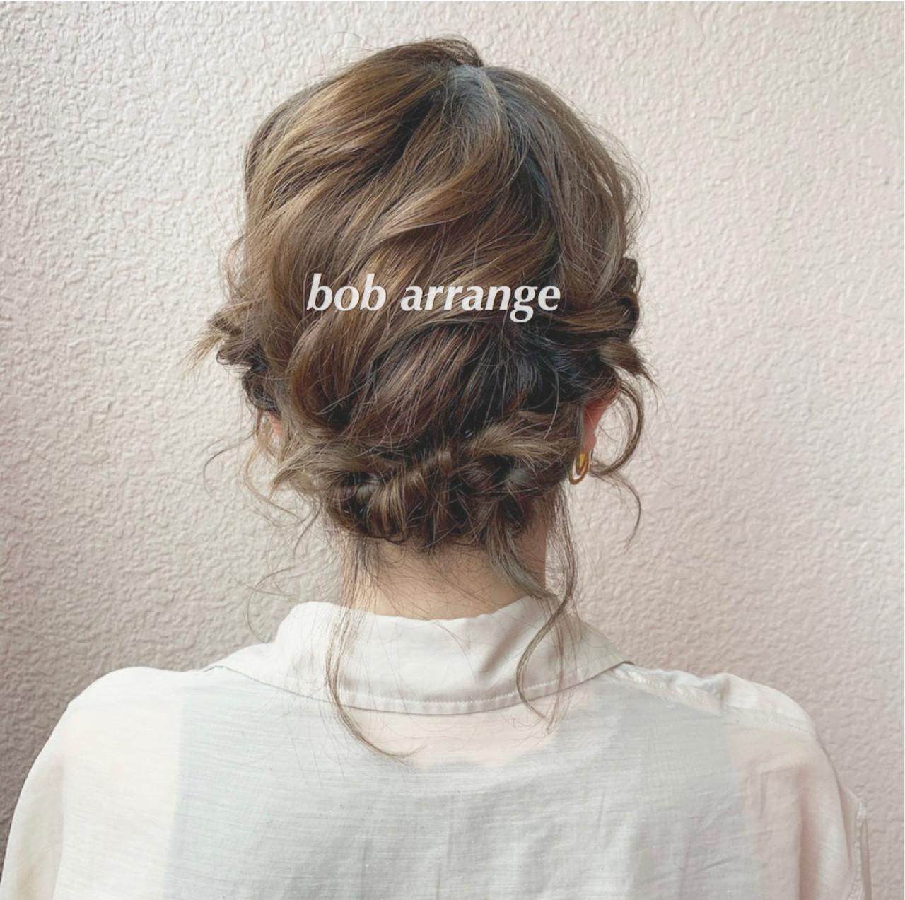 簡単ヘアアレンジ ナチュラル 大人可愛い ボブ ヘアスタイルや髪型の写真・画像