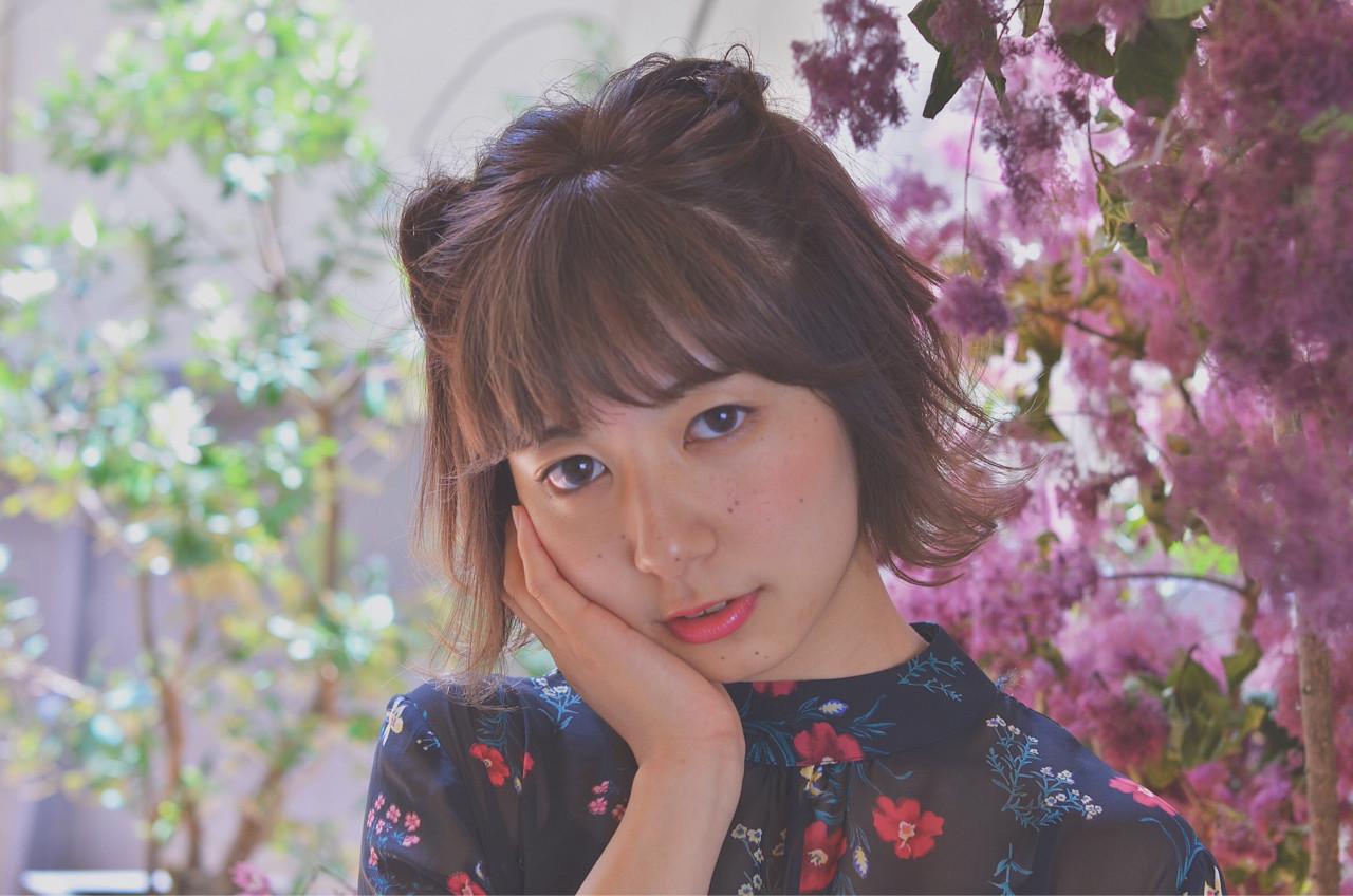 簡単ヘアアレンジ ボブ ヘアアレンジ デート ヘアスタイルや髪型の写真・画像 | minami.o / CERISIER7