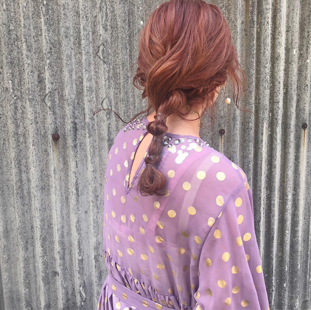 ヘアアレンジ レッド デート ピンク ヘアスタイルや髪型の写真・画像 | 藤田成美 / bado