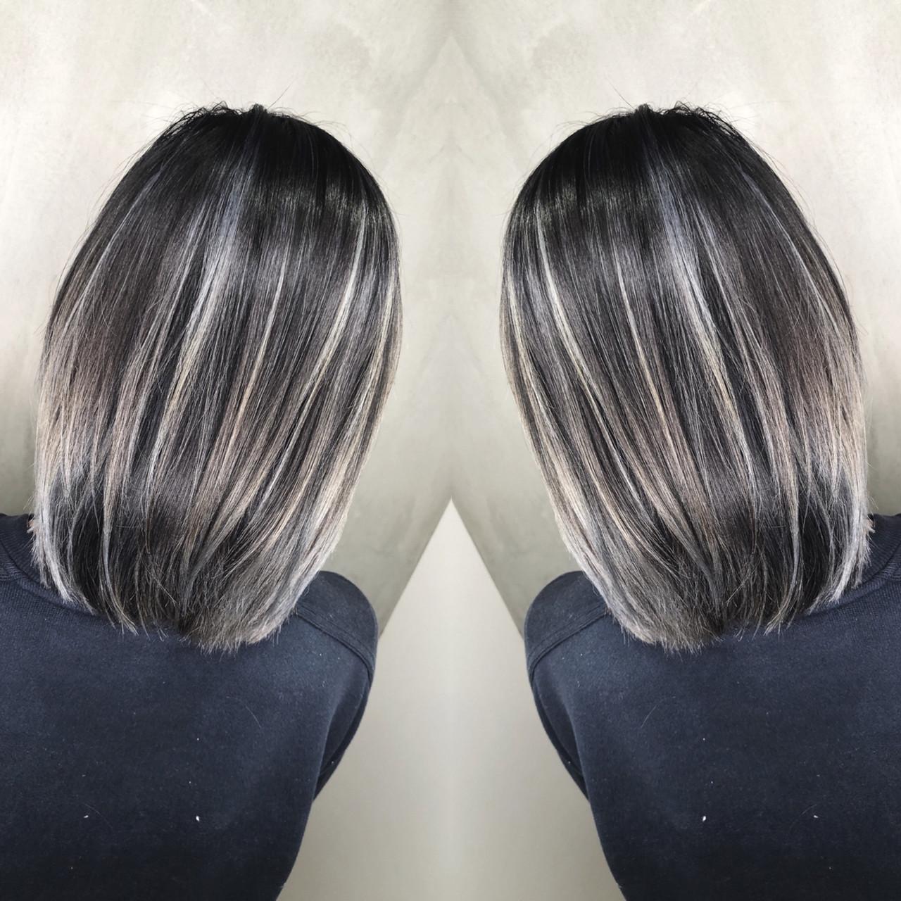 グラデーションカラー ボブ ストリート ハイライトヘアスタイルや髪型の写真・画像