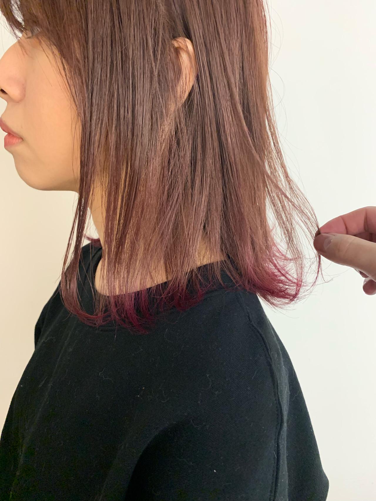 ミディアム ラベンダーピンク ベリーピンク ピンク ヘアスタイルや髪型の写真・画像 | MORNING.miya/@1031miya / HAIR MORNING.