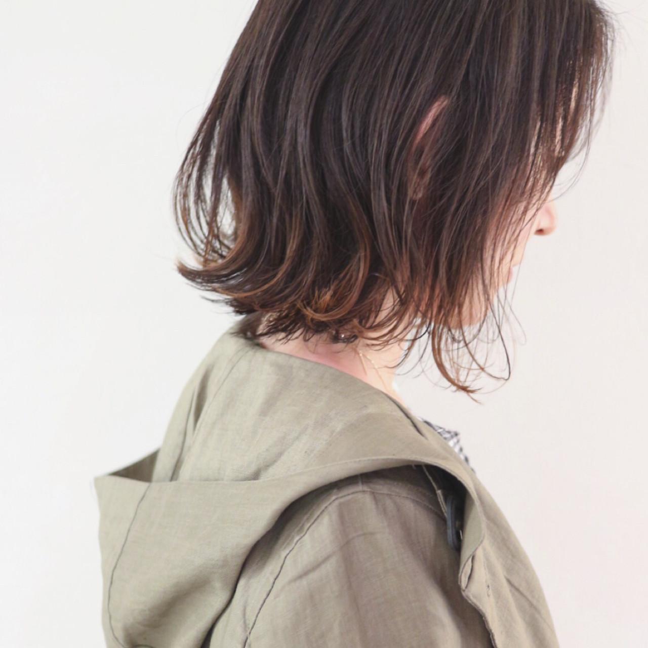インナーカラー ハイライト ボブ グラデーションカラーヘアスタイルや髪型の写真・画像