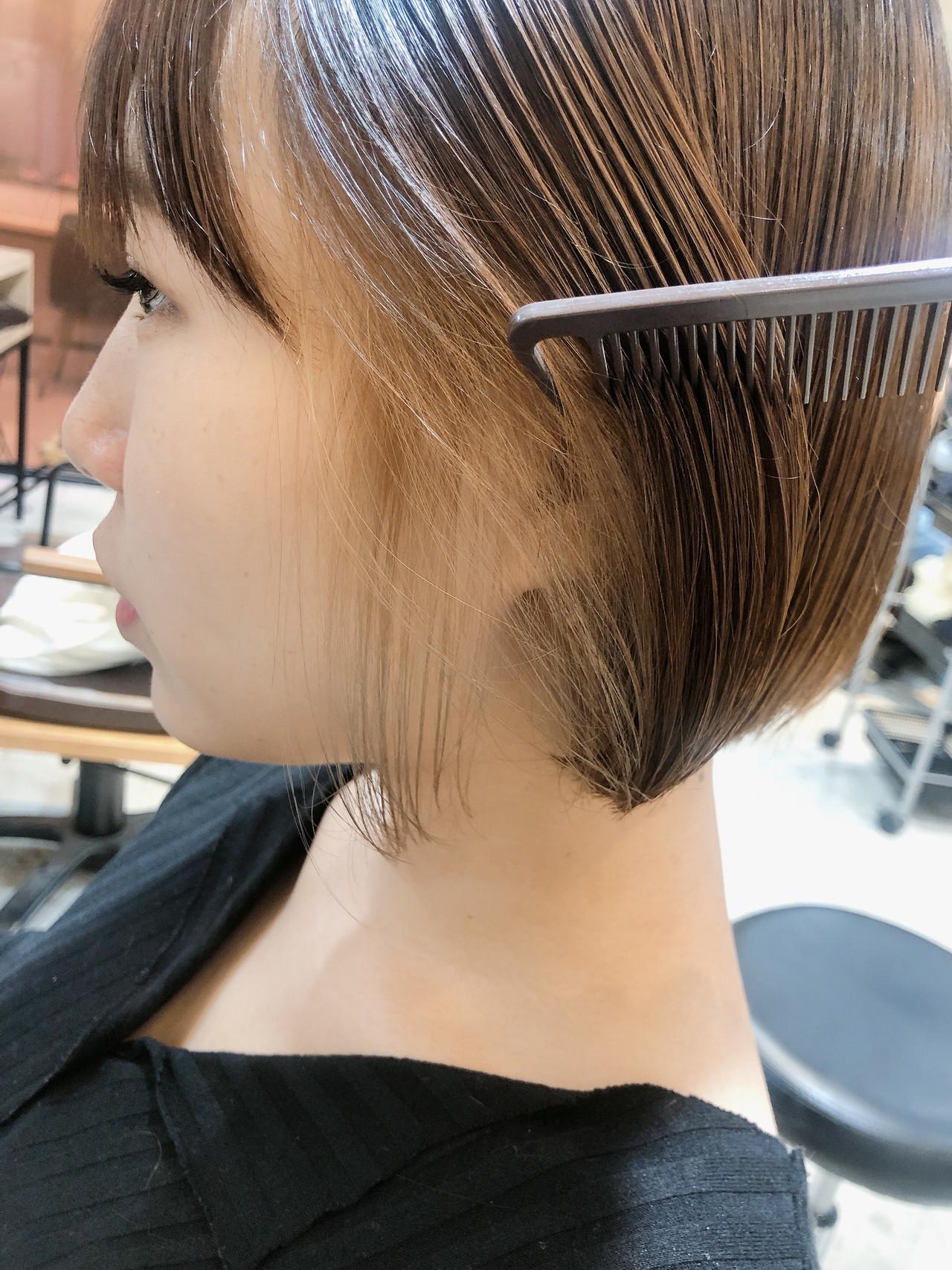 ショートボブ ナチュラル 切りっぱなしボブ ミニボブ ヘアスタイルや髪型の写真・画像 | 本田結(ほんだゆい)dydi表参道 / dydi表参道
