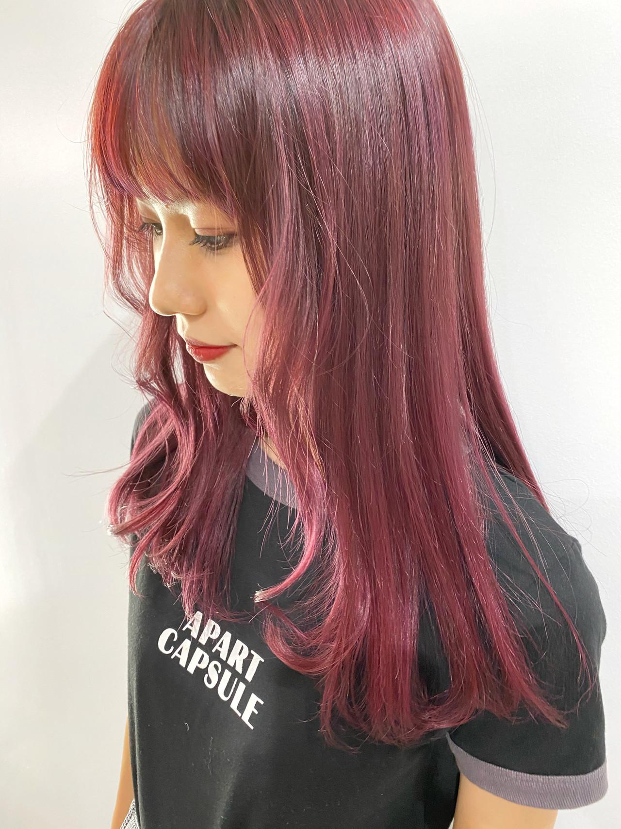 ガーリー ピンク ベリーピンク ロングヘアスタイルや髪型の写真・画像