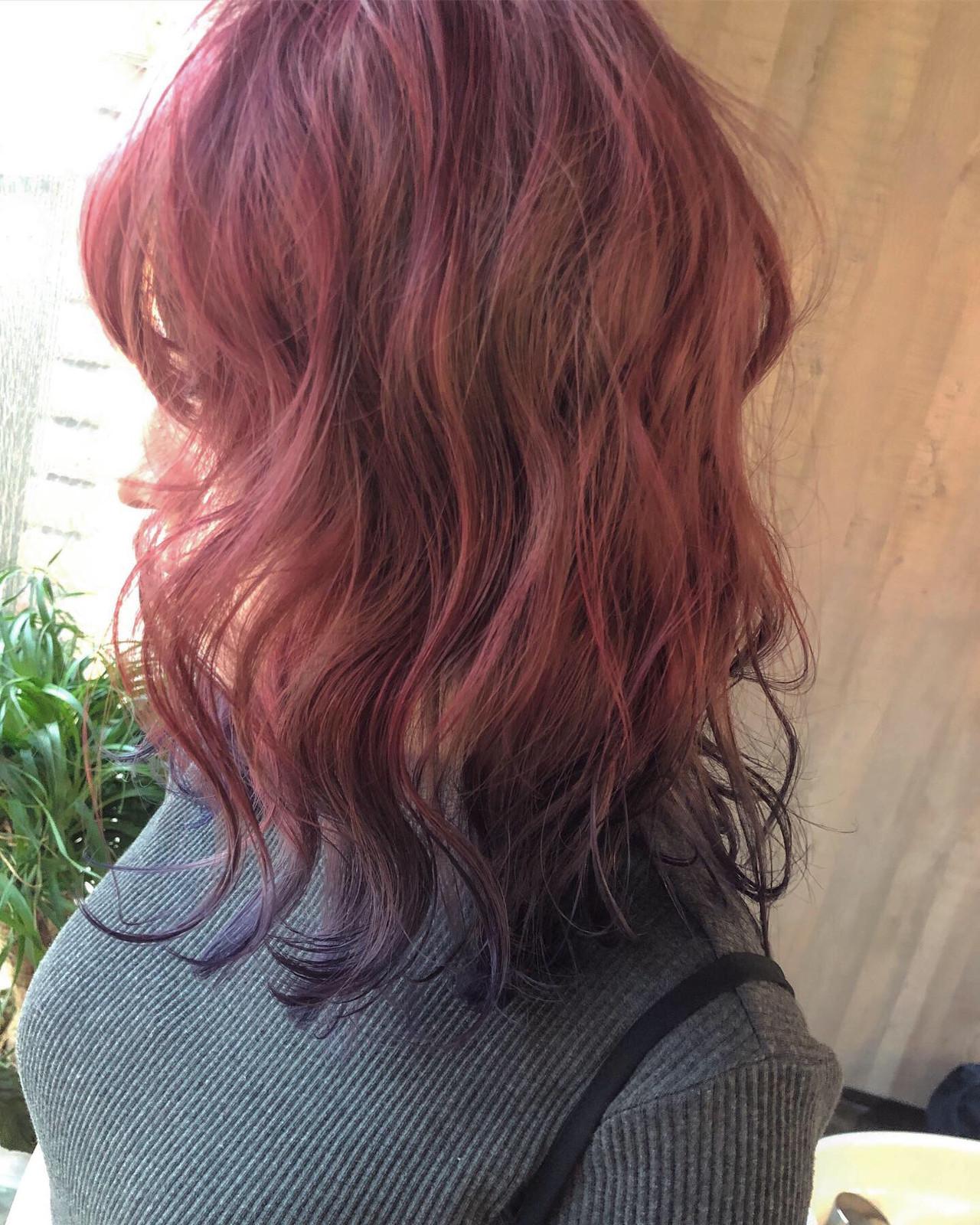 ピンクベージュ ガーリー ラベンダーピンク 裾カラー ヘアスタイルや髪型の写真・画像 | 田渕 英和/vicushair / vicushair