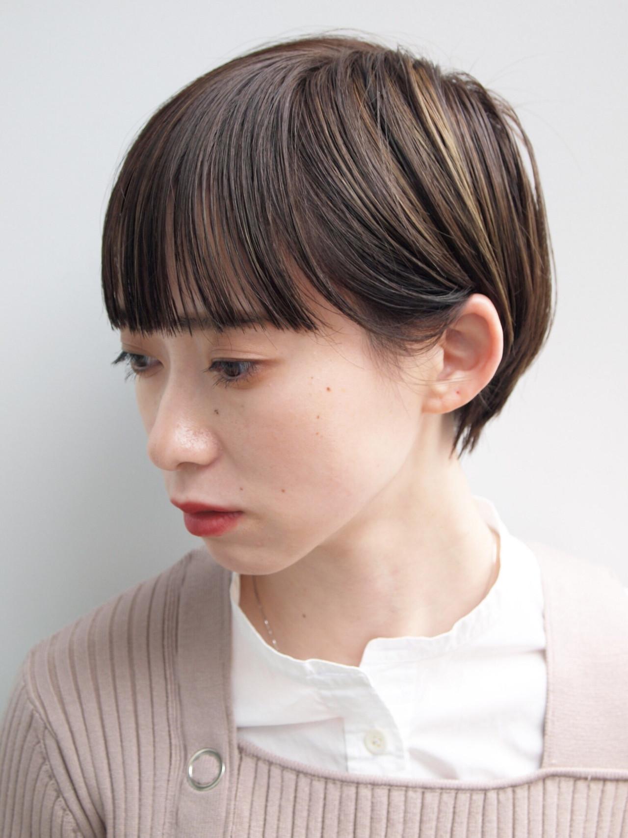 前髪パッツン ショートヘア ハイライト ショート ヘアスタイルや髪型の写真・画像 | 畑山拓也 / Baco.