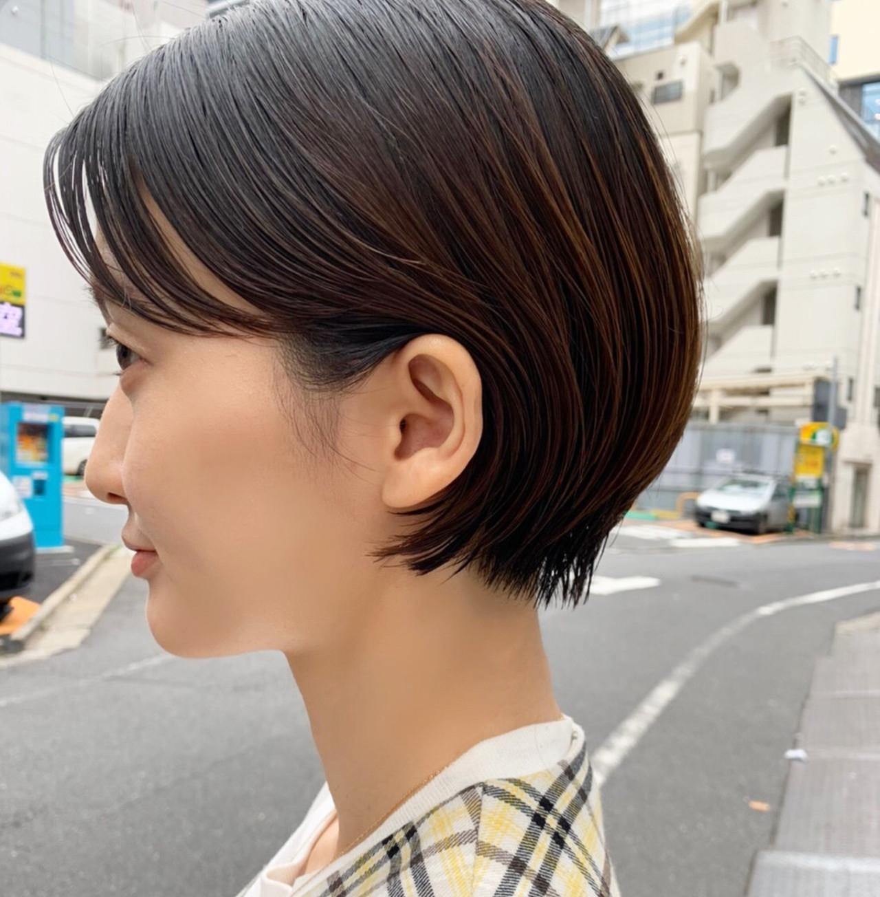 ミニボブ 前髪パーマ 伸ばしかけ ショートボブ ヘアスタイルや髪型の写真・画像 | 高橋 忍 / nanuk渋谷店(ナヌーク)