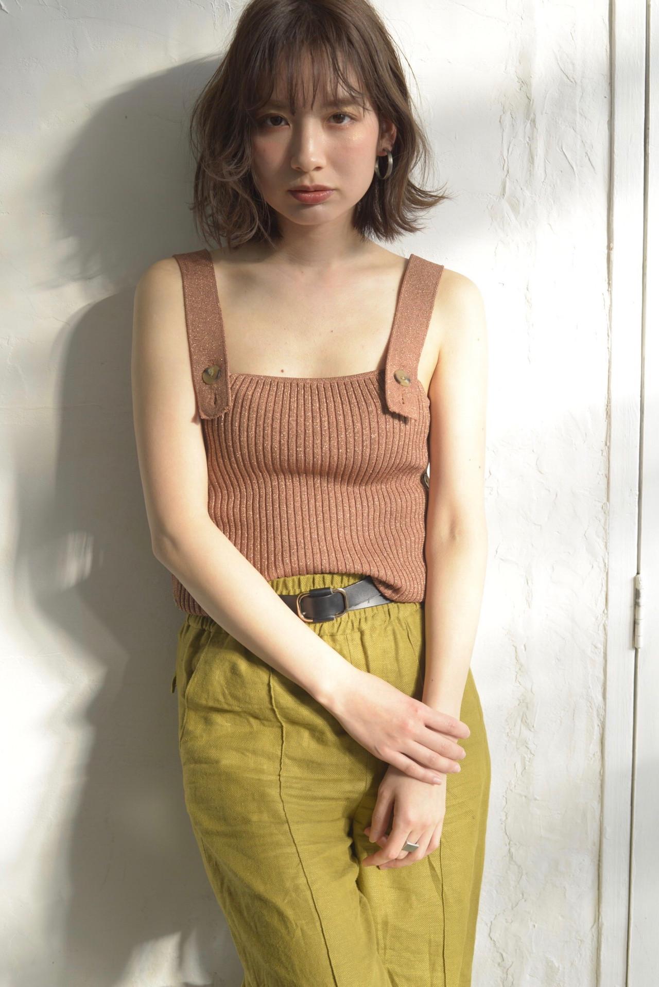 ボブ 前髪パーマ デート フェミニン ヘアスタイルや髪型の写真・画像 | 小谷 晴香 / Laciel 両国店
