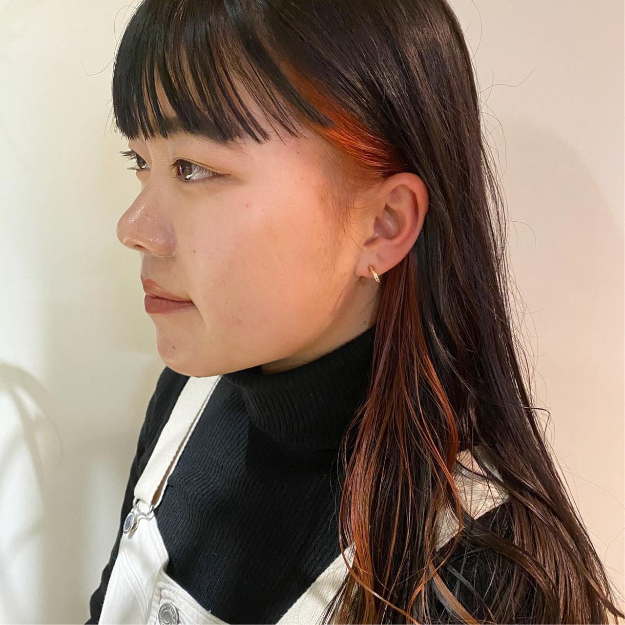 オレンジカラー モード インナーカラーオレンジ アプリコットオレンジ ヘアスタイルや髪型の写真・画像