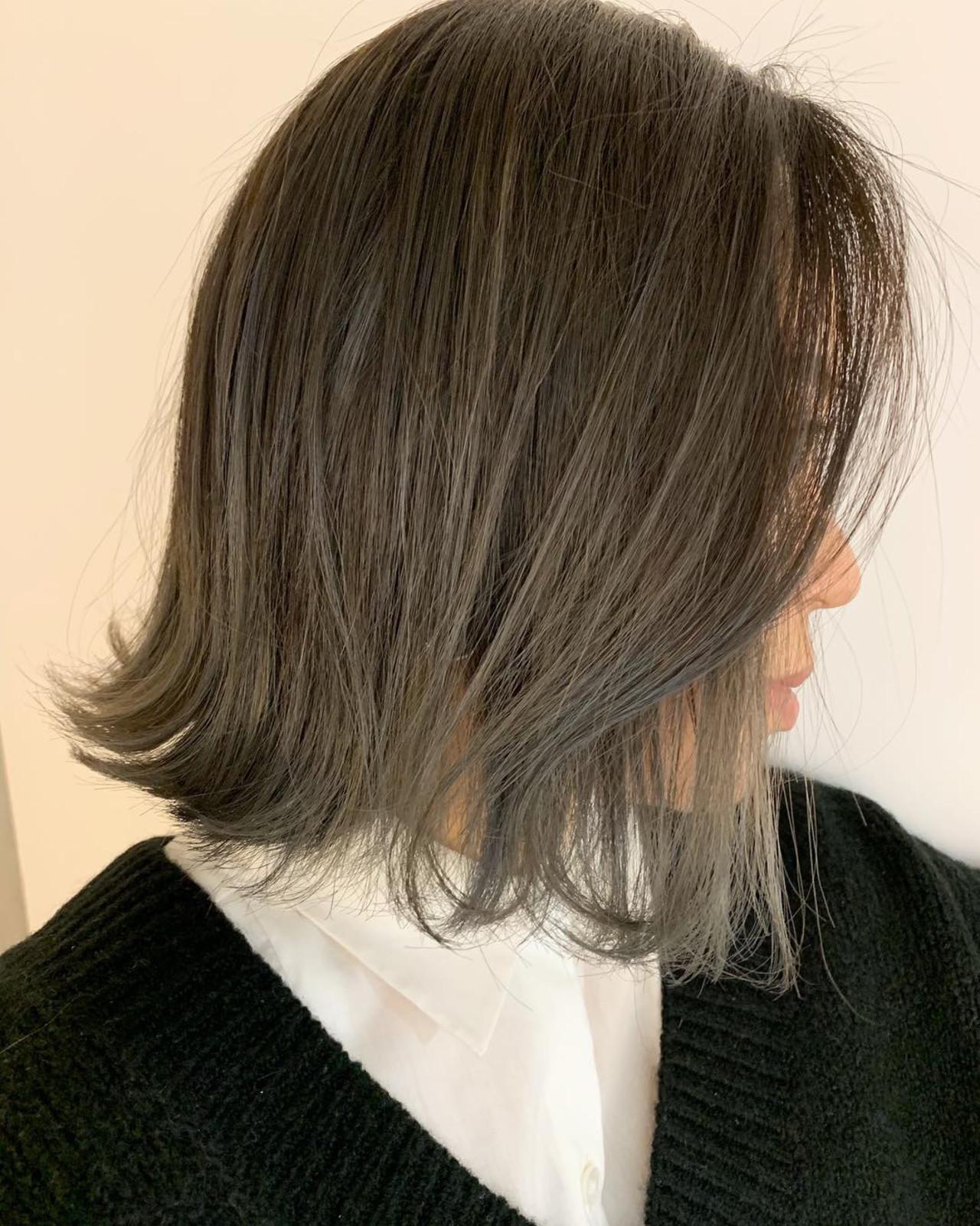 ボブ バレイヤージュ アッシュグレージュ 外ハネボブ ヘアスタイルや髪型の写真・画像   MORNING.miya/@1031miya / HAIR MORNING.