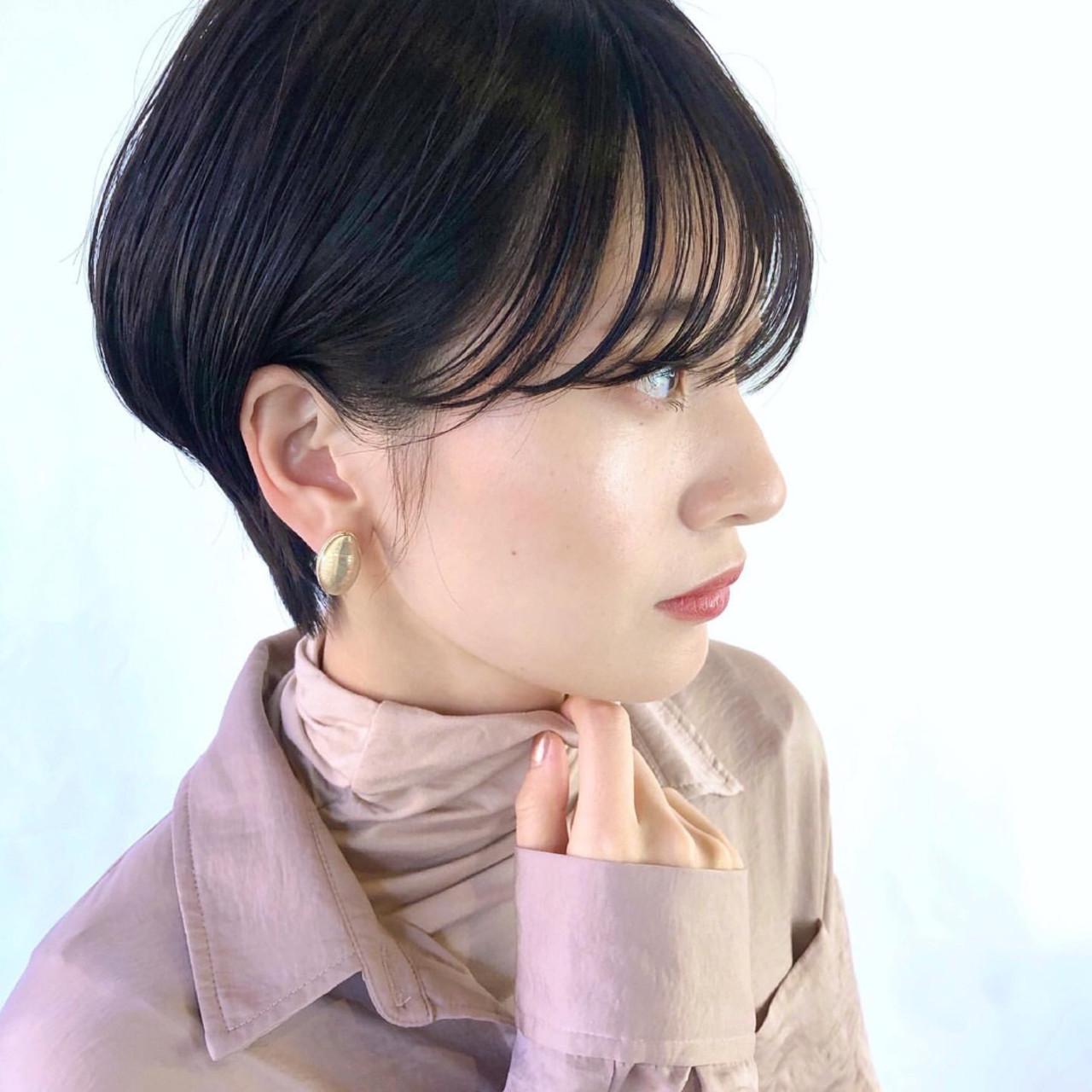 ショートヘア 黒髪ショート 暗髪 ショート ヘアスタイルや髪型の写真・画像