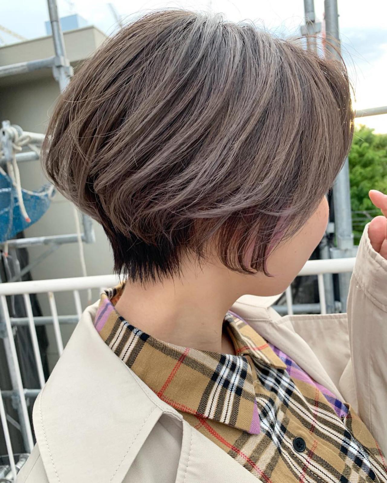 ラベンダーグレー ハンサムショート ショート ミルクティーグレー ヘアスタイルや髪型の写真・画像 | MORNING.miya/@1031miya / HAIR MORNING.