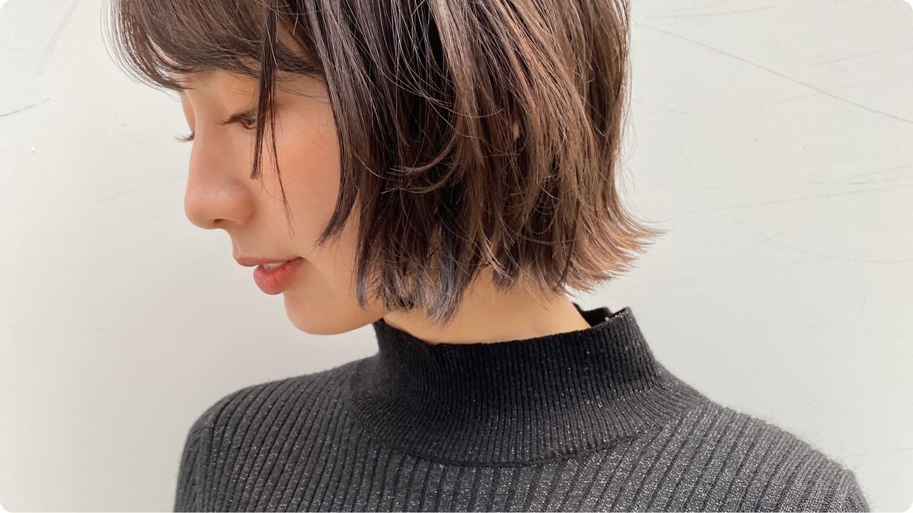 ボブ ミニボブ ショートボブ ナチュラル ヘアスタイルや髪型の写真・画像 | 近江 翔一郎/切りっぱなしボブ/外ハネボブ / joemi by unami