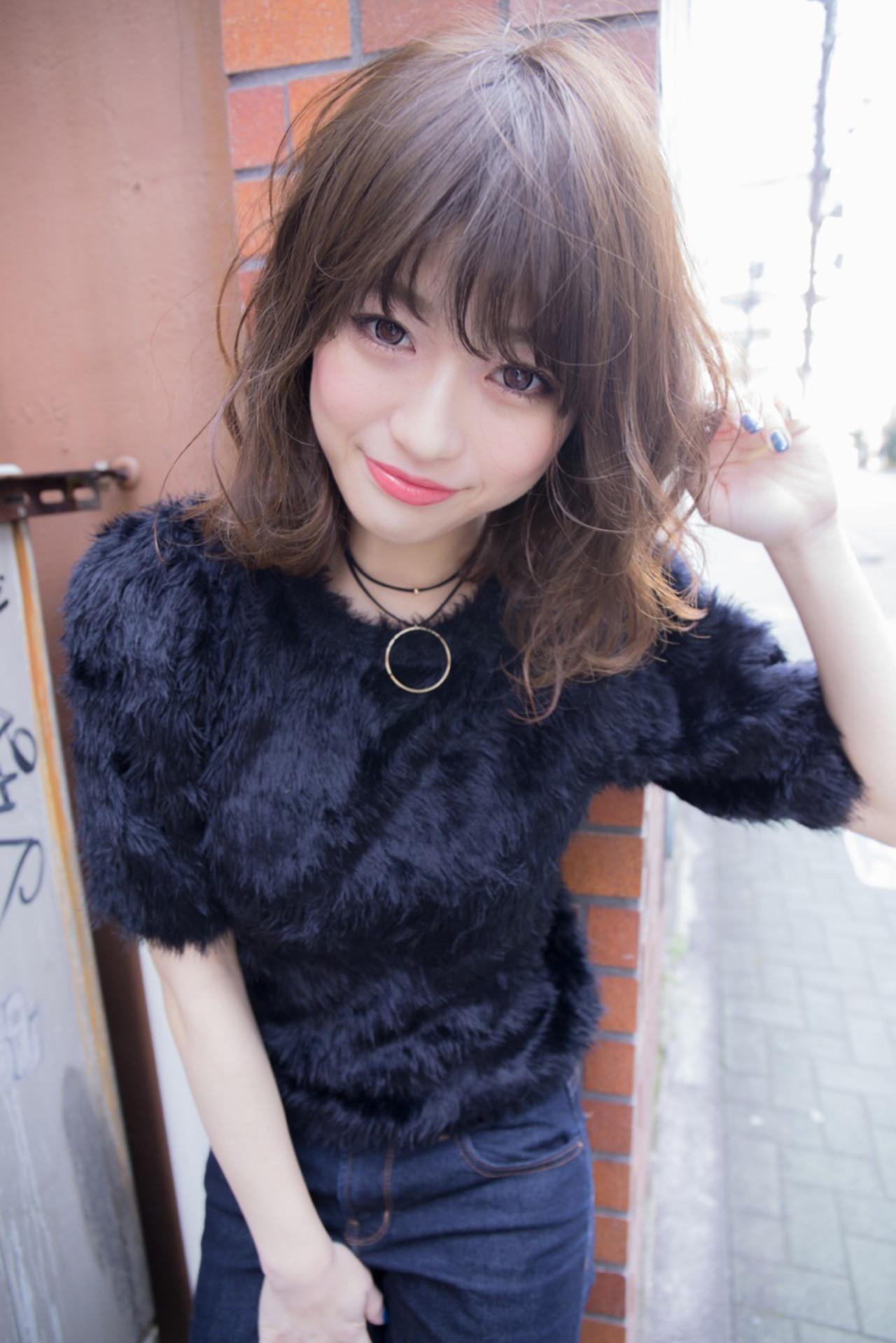 ミディアム 大人かわいい 小顔 こなれ感 ヘアスタイルや髪型の写真・画像   堀伸裕 / Gem Garden