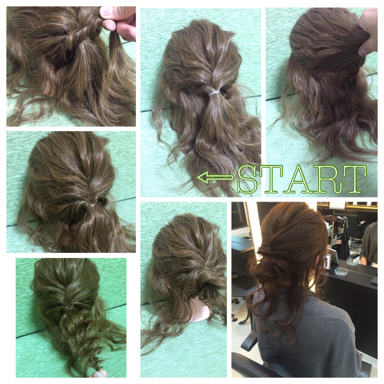 ヘアアレンジ セミロング ゆるふわ ロープ編み ヘアスタイルや髪型の写真・画像 | 大下 友輔 / ConneQt