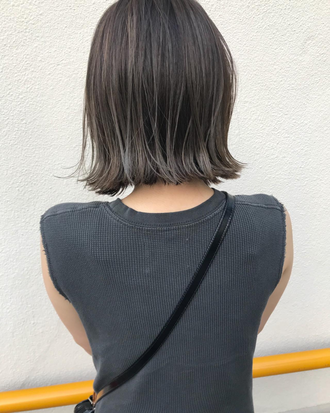 ナチュラル ハイライト 切りっぱなし ロブ ヘアスタイルや髪型の写真・画像 | KENTO.NOESALON / NOE SALON