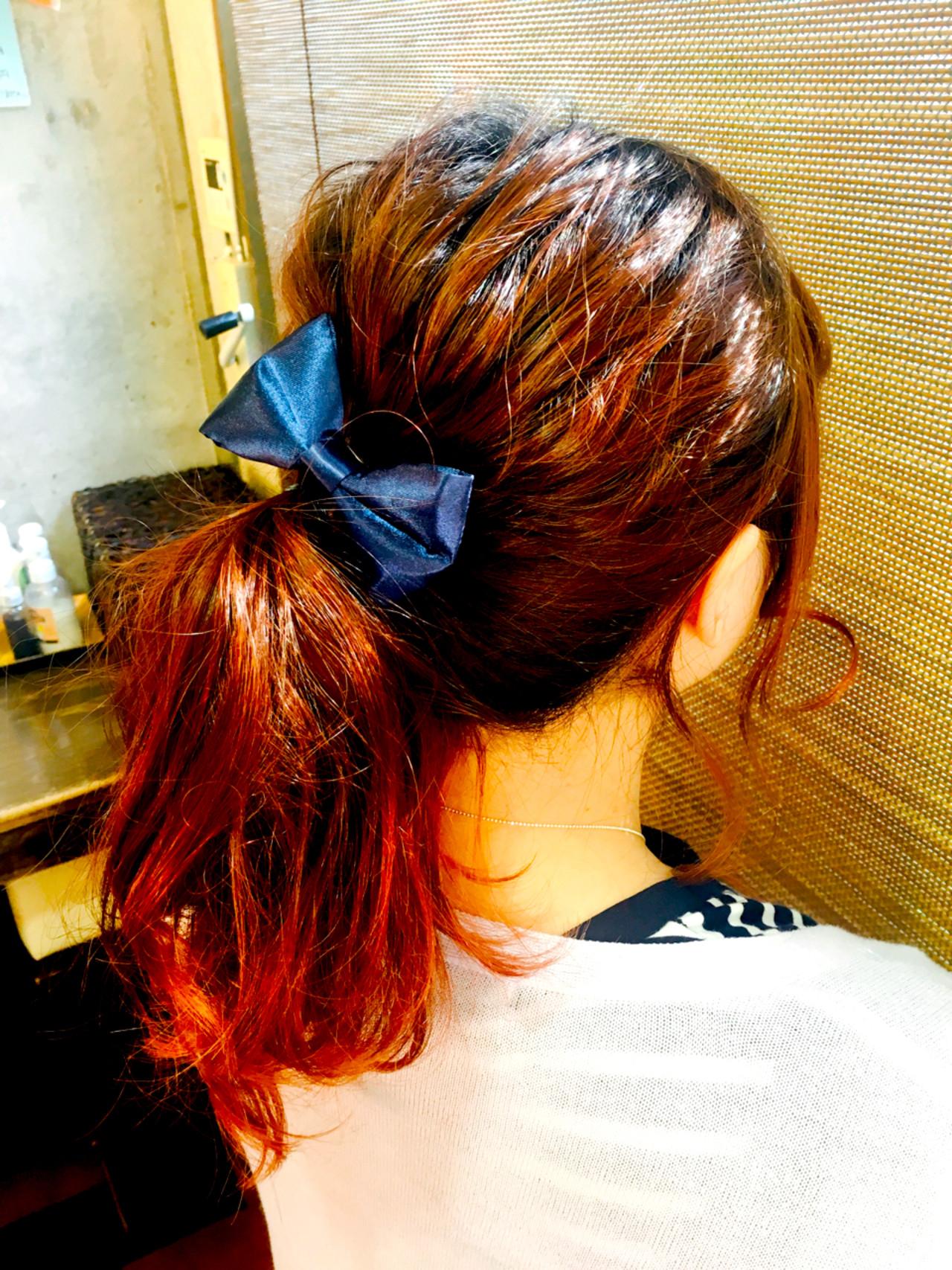 簡単ヘアアレンジ ヘアアレンジ ポニーテール セミロングヘアスタイルや髪型の写真・画像